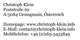 Postanschrift und Verantwortlicher Christoph Klein für die Homepage www.christoph-klein.info