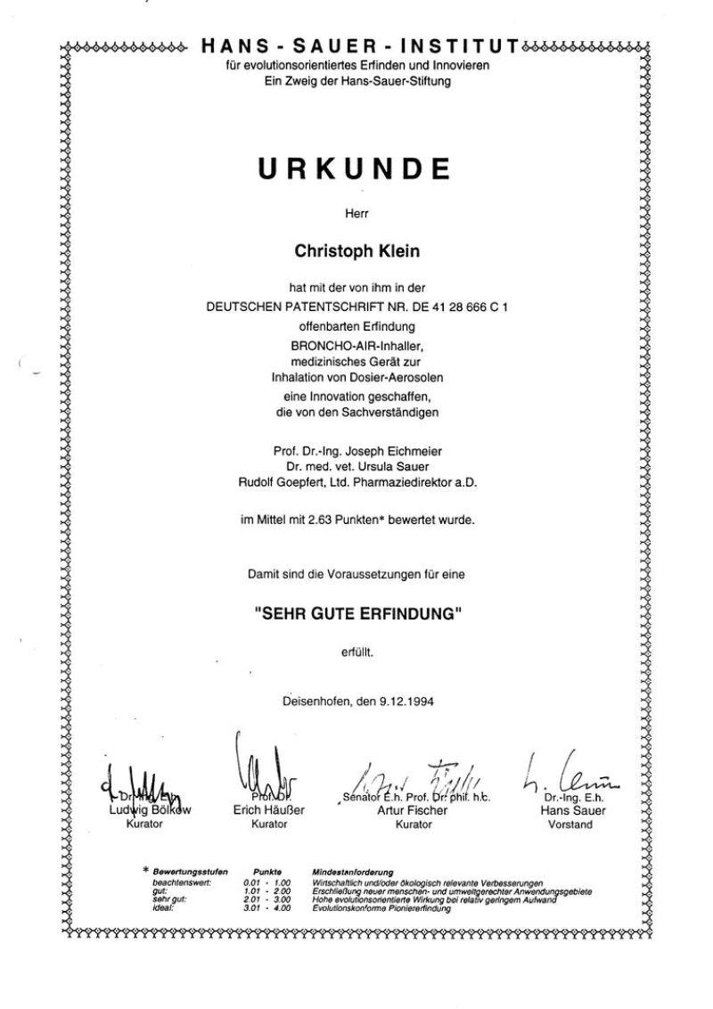 Urkunde des Hans Sauer Institut über die Erfindung des Erfinder, Unternehmer, Berater, Autor Christoph Klein